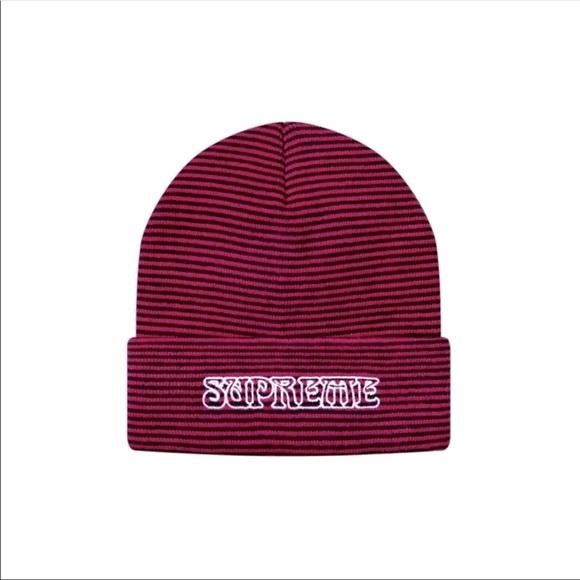 SUPREME Pink Black Small Striped Knit Hat Beanie
